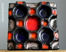 Vintage 1960-70's 3D GERMAN Pottery Relief Op Art Wall Plaque Tile Fat Lava Era