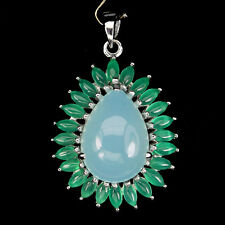 Big Gorgeous Blue Dyed Chalcedony Green Aventurine 925 Silver Pendant Chain Free