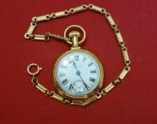 Westclox Locomotive Train Pocket Watch with Chain Working Gold Tone