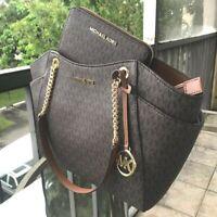 Michael Kors Women PVC Leather Tote Handbag Messenger Bag Purse MK BROWN +Wallet