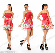 Girl Women's Floral Red Top Strappy Chiffon Party Summer Short Mini Dress