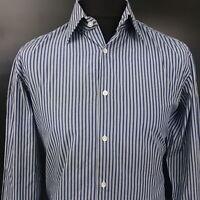 HUGO BOSS Mens Formal Shirt 42 16.5 (LARGE) Long Sleeve Blue Regular Fit Striped