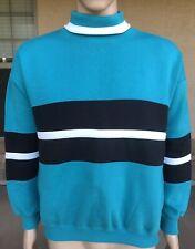 Vintage 90s Claybrooke Sport Retro Striped Turtleneck Sweatshirt Medium