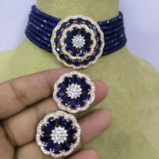 Gold Plated Blue AD CZ Kundan Choker Necklace Bollywood Bridal Indian Jewelry