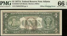 UNC 1977 A $1 DOLLAR BILL FULL OFFSET PRINT ERROR NOTE PAPER MONEY PMG 66 EPQ