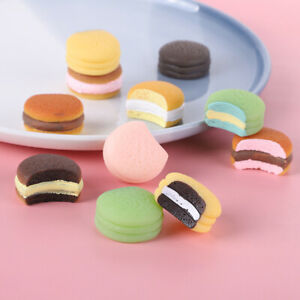 10 Pcs/set Cute Macaroon Simulation Flatback Resin Cabochon Mini Play Food DIY
