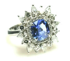Real 3.57ct Natural Blue Sapphire & Diamonds Engagement Ring GIA 18K