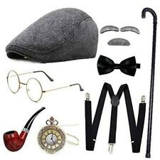 New listing 1920s Mens Gatsby Gangster Costume Accessories Set Old Man Style1-dark Gray