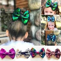 "5"" Women Girls Baby Kid Glitter Sequin Bowknot Headwear Hair Bow Hair Clip Pin"