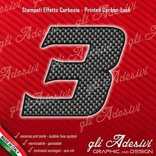 Adesivo Stickers NUMERO 3 moto auto cross gara Carbon Effect Back 5 cm
