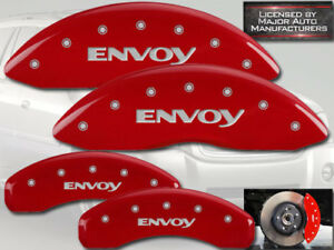"2002-2005 GMC ""Envoy"" Front + Rear Red MGP Brake Disc Caliper Covers 4pc Set"