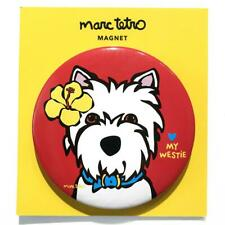"""*NWT* Marc Tetro 'Love My Westie' Terrier w/ Yellow Hibiscus Red Magnet 3"""" Round"""