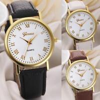 Geneva Fashion Unisex Casual Watch Dial Leather Band Analog Quartz Wrist Watch