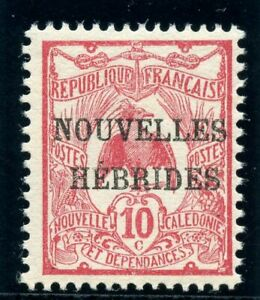 New Hebrides - French 1908 KEVII 10c carmine superb MNH. SG F2. Sc 2.