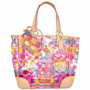 COACH TRANSPARENT CLEAR MULTI COLOR SCRIBBLE SIG XL BEACH TOTE/MATCHING WRISTLET
