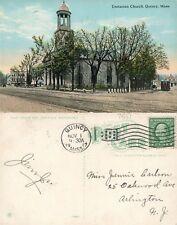 QUINCY MA UNITARIAN CHURCH 1917 ANTIQUE POSTCARD