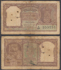 (B15) India 2 Rupees ND 1962-67 (VG) Banknote P-51a Tiger