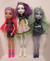 Monster High Doll Lot of 3 Dolls White/Purple Purple/Green Tan/Pink Clothed