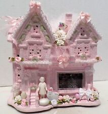 "Shabby Pink Christmas Village House ""Christmas At Grandmas"" Roses Pearls OOAK"