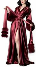 Women's Robe Nightgown Bathrobe Sleepwear with Luxury Fur Feather Bridal Wedding