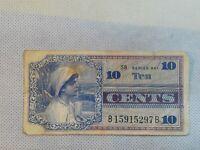Military Payment Certificate Series 661 10 Cents Vietnam 1968-69 Cool vignette