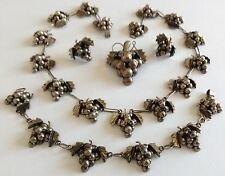 Parure Necklace Bracelet Brooch Earrings Vtg Signed Sterling Silver Grape Grand