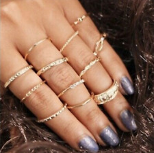 Mid Midi Above Knuckle Ring Band Gold Tip Finger Stacking 12Pcs Set