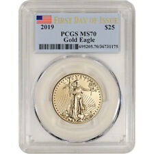 2019 American Gold Eagle 1/2 oz $25 - Pcgs Ms70 First Day of Issue Flag Label
