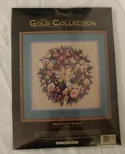 Dimensions Wreath of Roses Cross Stitch Kit Gold Collection 1997 Unopened