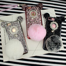 MOUSE EAR GLITTER PEARL POM POM LANYARD FOR IPHONE 6/6+/7/7 PLUS CASE #CC150