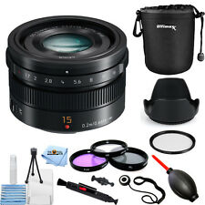 Panasonic LUMIX G Leica DG Summilux 15mm f/1.7 ASPH. Lens (Black)! PRO KIT NEW!!