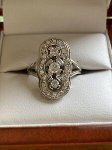 Ring Weißgold 750 mit Brillanten Gesammt 0,65 ct ART DECO Gebraucht Schmuckpaß
