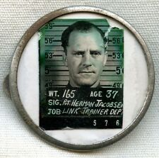 Rare WWII USAAF Link Trainer Department Photo ID Badge by A.E. Co.