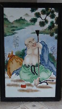 """ANTIQUE EARLY 20c CHINESE LARGE FRAMED PORCELAIN PLAQUE """"LUCKY MONK""""W/CALIGRAPHY"""