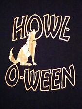 Halloween Howl-O-Ween Lone Wolf Holiday October 31st Shinny Black T Shirt M l