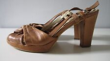 PROGETTO Light Brown Leather Slingbacks Size 37 (US 7.5)