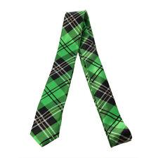 1 x mens ladies tie skinny thin tie green tartan silk school business birthday