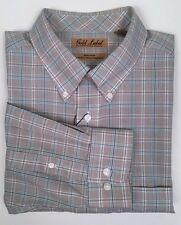 NWT Gold Label Roundtree & Yorke Non-Iron Long-Sleeve Tan Plaid  Men's Shirt L