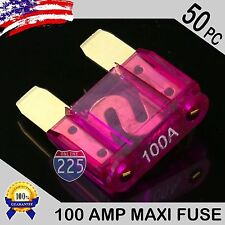 50 Pack 100A AMP Gold Large Blade Style Audio Maxi Fuse Car 12V 24V 32V Auto US