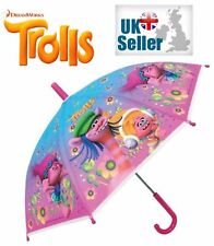 Licensed Dreamworks TROLLS Character Umbrella Girls Pink Embossed Rain Brolly
