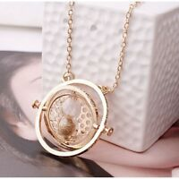 Gold Time Turner Hermione Granger Rotating Spin Hourglass Necklaces Long Chain