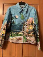 Women's Take Two Clothing Co Jacket Blazer Multicolor Miami Scene Sz XL Cute