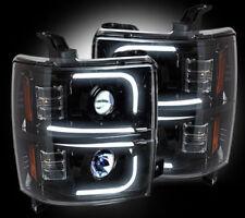 Recon Black LED DRL Bar Projector Headlights For Silverado 2500 / 3500 / HD