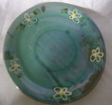 """Dinner Plate Earthworks Barbados Pottery Blue Daisies Pattern 10 1/2"""" Hand made"""