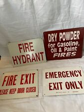 Lot Of 4 Vintage Industrial FIRE Metal Sign Antiques