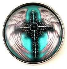 Teal Cross Angel Wings Glass 18mm Snap Charm For Ginger Snaps Magnolia Vine