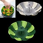 Folding Steamer Basket Fruit Vegetable Plate Silicone Dish Kitchen Cooker
