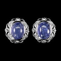 Unheated Oval Blue Tanzanite 10x8mm Natural Cz 925 Sterling Silver Earrings