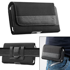 Horizontal Leather Case Cover Pouch Holster With Belt Clip for Large Cell Phones