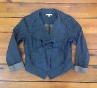 "Cabi Waxed Linen Jean Jacket Style  Womens Blazer Coat Black M 38"" Chest"